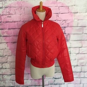 Kitson LA red quilted bomber jacket